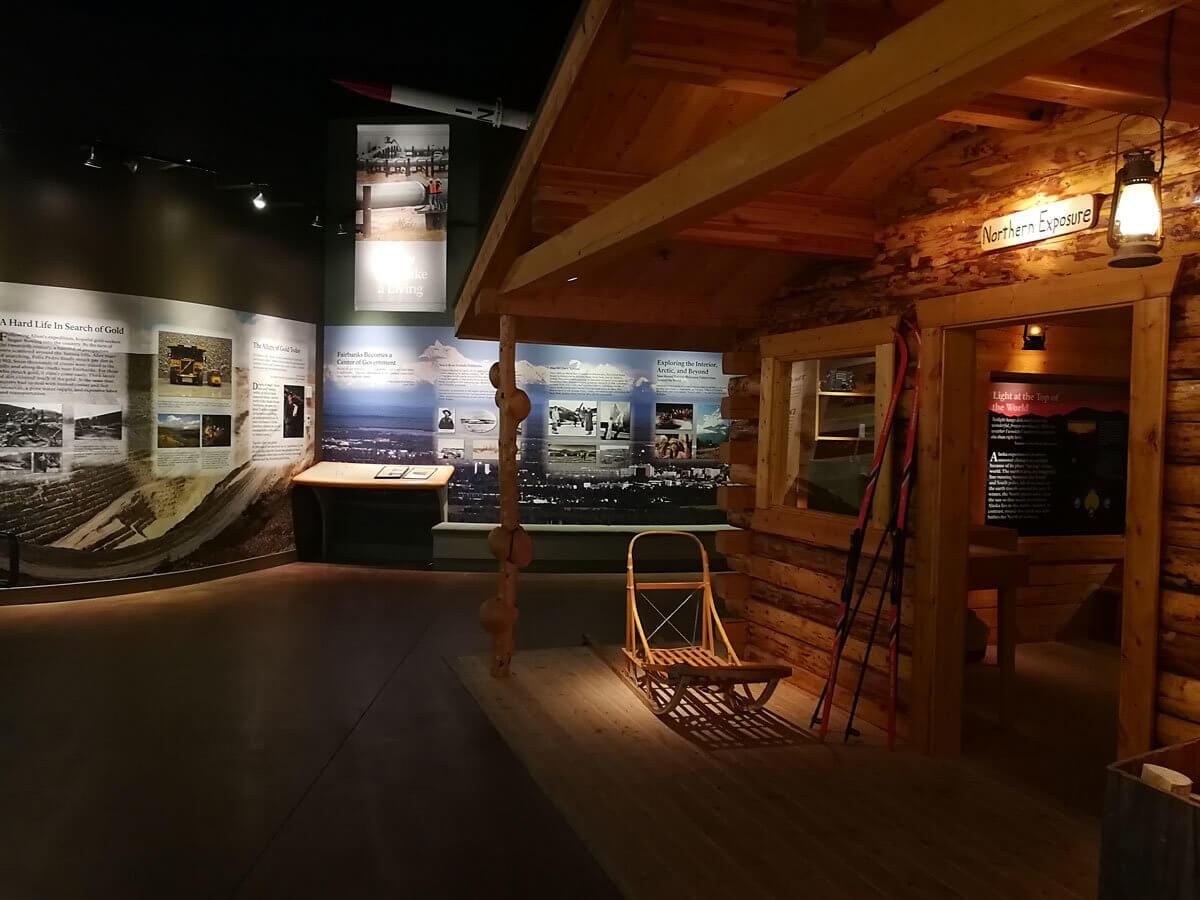 Museum Exhibit Hall with cabin facade