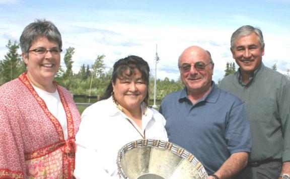 Group holding fish skin basket
