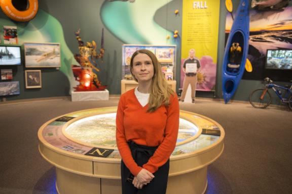 Sara Harriger posing in atrium