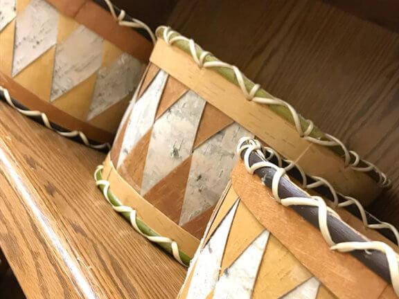 Birch baskets on a shelf